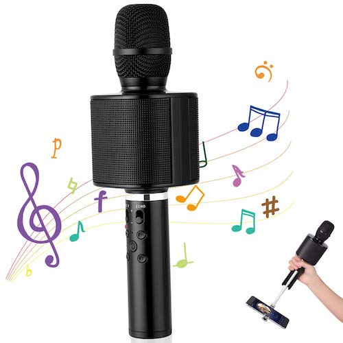 6. Wireless Karaoke Microphone, Mbuynow Bluetooth TWS Karaoke Machine Portable Handheld Mic with Speaker, Phone Holder, Camera Remote
