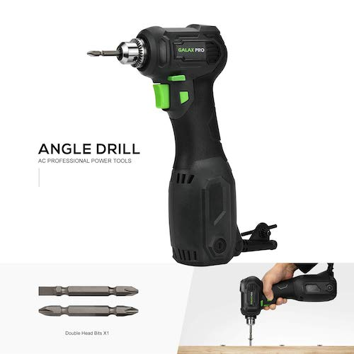 7. Angle Drill, GALAX PRO 3.5 Amps Close Quarter Power Drill 3/8