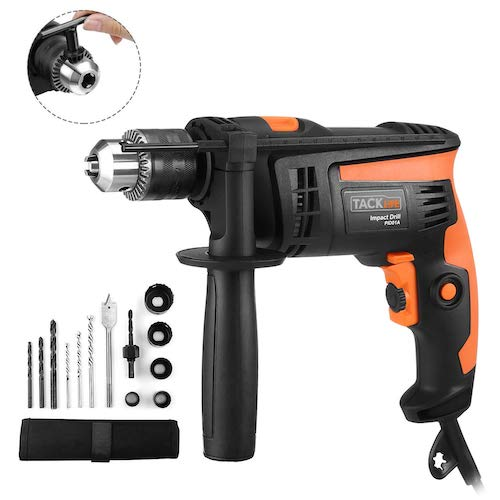 10. Hammer Drill, TACKLIFE 1/2-Inch Electric Drill, 12 Drill Bit Set, Hammer Drill for Wood, Steel, Masonry - PID01A