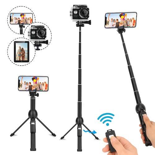 7.Selfie Stick Tripod,45 Inch Extendable Selfie Stick Tripod with Wireless Remote Control