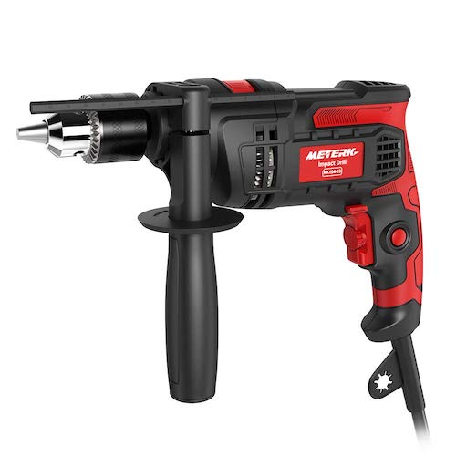 2.Meterk 7.0 Amp 1/2 Inch Corded Drill 850W, 3000RPM Dual Switch Between Electric Hammer Drill and Impact Drill,