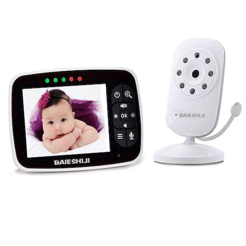 3.Video Baby Monitor, Baby Monitor Digital Camera with 3.5 inch Large Screen, Infrared Night Vision byBABYPAT