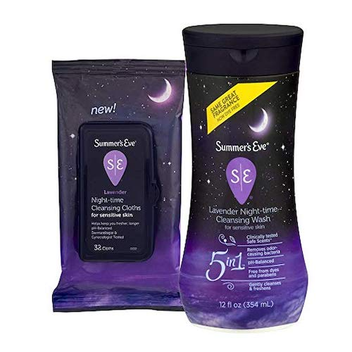 6. Summer's Eve Cleansing Nightime Lavender Kit | 12 oz Cleansing Wash & 32 Count Cloths | pH-Balanced, Dermatologist & Gynecologist Tested