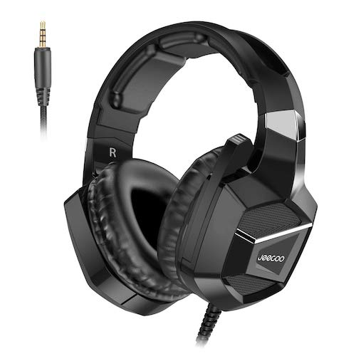 7. Jeecoo J20 Stereo Gaming Headset - Bass Surround - Soft Memory Earmuffs - Noise Cancelling Over Ear Headphones with Microphone