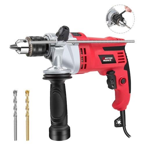 "8. Hammer Drill, 7.0A 1/2"" Rotary Hammer Drill with Dual Drill Modes, Variable Speed, 360° Rotating Handle, Masterworks MEID377"
