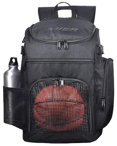 2. MIER Basketball Backpack Large Sports Bag for Men Women with Laptop Compartment, Best for Soccer, Volleyball, Swim, Gym, Travel, 40L, Black