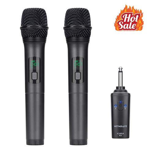 2. Kithouse K380A Wireless Microphone Karaoke Bluetooth Microphone Wireless With Rechargeable Receiver System - UHF Dual Handheld Dynamic Mic Set