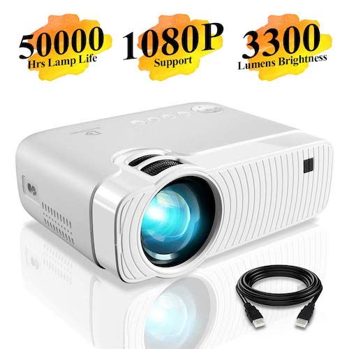 "7. DracoLight 3300 Lumens Mini Portable Projector, Ideal 180""Display 50000 Hours Lamp Life LED Video Projector for Home Theater (White)"