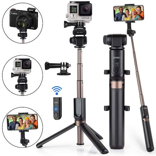 4.Selfie Stick,KUSKY Upgraded Extendable Selfie Stick Tripod with Bluetooth Remote for Gopro Camera, iPhone Samsung, 3.5-6 inch Smartphones