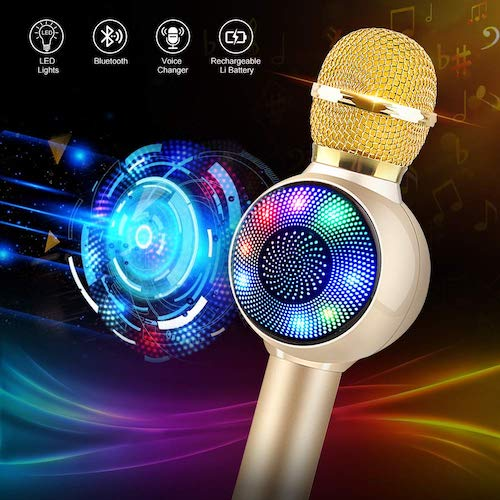 8. Wireless Bluetooth Karaoke Microphone with Dynamic LED Light, 5 in 1 Handheld Karaoke Machine by JBDK