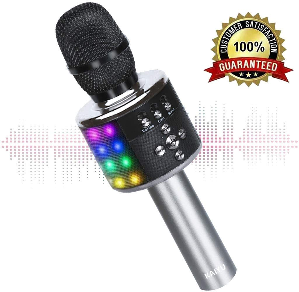3. Wireless Bluetooth Karaoke Microphone with Multi-color LED Lights, 4 in 1 Portable Handheld (Rose Golden) by Fifth Avenue-Store