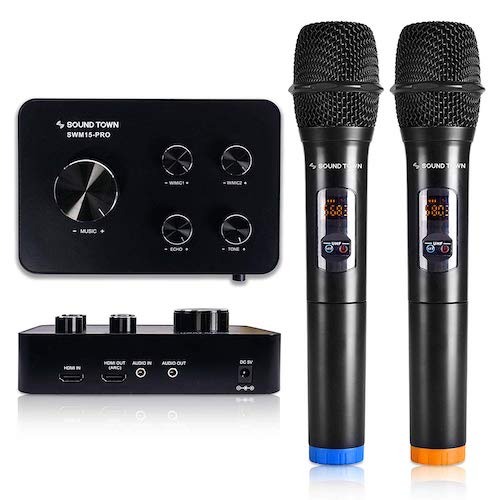 7. Sound Town 16 Channels Wireless Karaoke Microphone and Mixer System