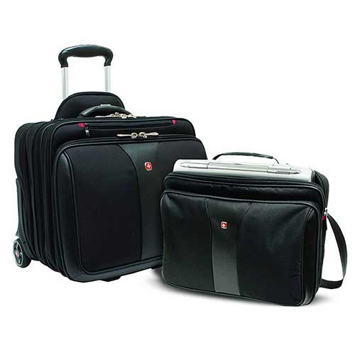 9. Wenger Luggage Patriot Rolling 2 Piece Business Set, Black