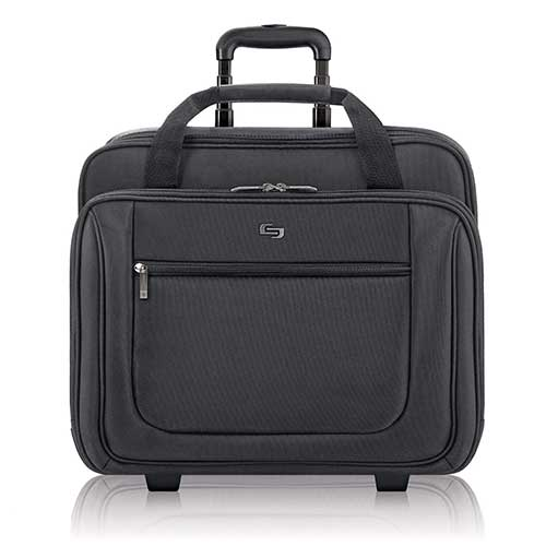 3. Solo Bryant Rolling Laptop Bag, rolling laptop briefcase for women and men fits up to 17.3 inch laptops, Black
