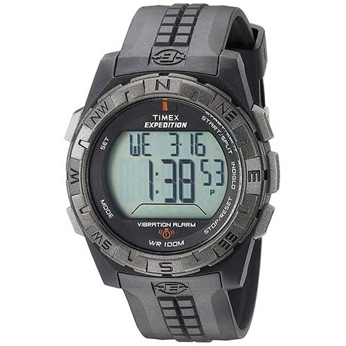 2. Timex Men's T49851 Expedition Vibration Alarm Black Resin Strap Watch