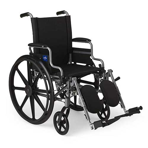 5. Medline Lightweight and User-Friendly Wheelchair with Flip-Back, Desk-Length Arms and Elevating Leg