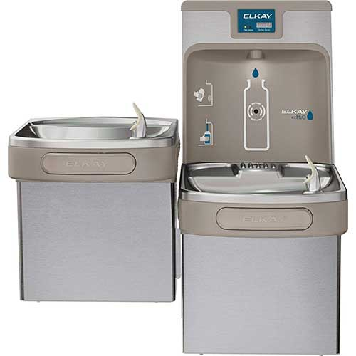 4. Elkay LZSTL8WSSP Enhanced EZH2O Bottle Filling Station, & Versatile Bi-Level ADA Cooler, Filtered 8 GPH Stainless