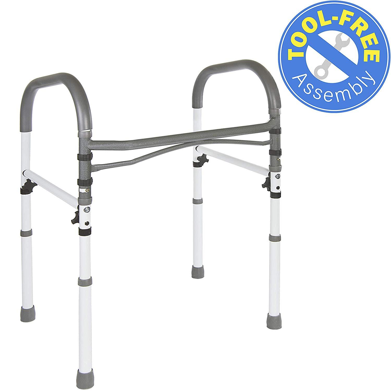 1. Vaunn Deluxe Bathroom Safety Toilet Rail - Adjustable Toilet Safety Frame - Medical Handrail Assist Grab bar Handle