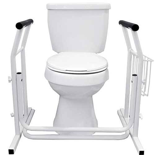 2. Vaunn Medical Bathroom Toilet Rail Grab Bar and Commode Safety Frame Handle