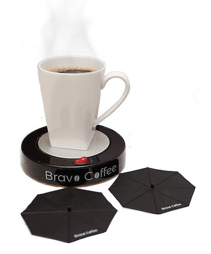 "9. Bravo Line Coffee Mug Warmer with Automatic Shutoff – Best Electric Beverage Warmer for Desk – Extra Large – 3.87"" with 2 FREE Drink Covers – Perfect Drink Warmer for All Cups and Mugs"