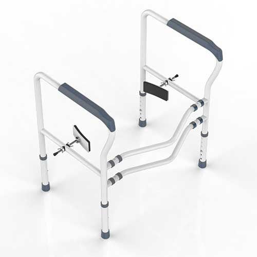 6. HEPO Improved Toilet Rail for Elderly Free Stand, Toilet Rails for Disabled, (Grey)