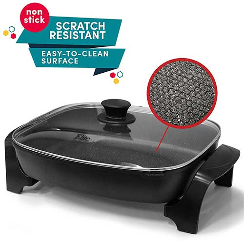 """Best Electric Skillets 2. Elite Platinum EG-6203 Non-stick Deep Dish Heavy Duty Electric Skillet with Tempered Glass Vented Lid and Easy-Pour Spout, Dishwasher Safe, 1500W, 16"""" x 13"""" x 3.15"""" - 8 Quart, Black"""
