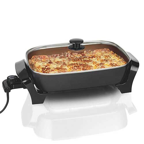 Best Electric Skillets 4. Hamilton Beach 38528R Deep Dish Durathon Ceramic Skillet, 040094936342, Copper