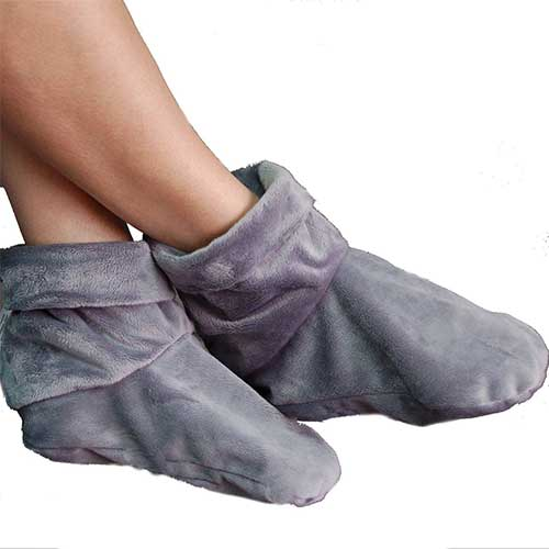 9. Heated Microwaveable Foot Booties - Herbal Hot/Cold Deep Penetrating Herbal (Charcoal) by MARS WELLNESS