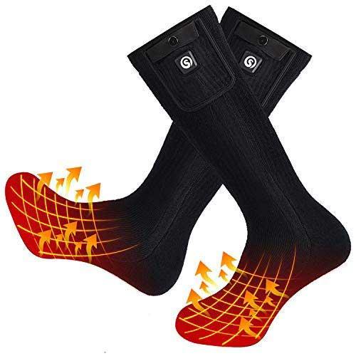 2. SNOW DEER Upgraded Heated Socks,Electric Rechargeable Battery Heating Socks for Men Women