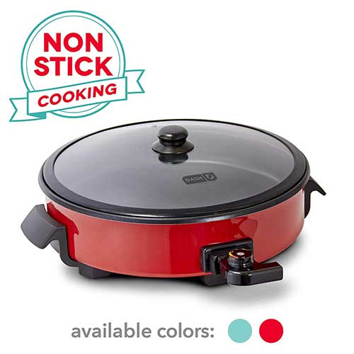 Best Electric Skillets 5. Dash DRG214RD Family Size Rapid-Heat Electric Skillet + Hot Oven Cooker with 14 inches Nonstick Surface + Recipe Book for Pizza, Burgers, Cookies, Fajitas, Breakfast & More, 20 Cup Capacity, Red