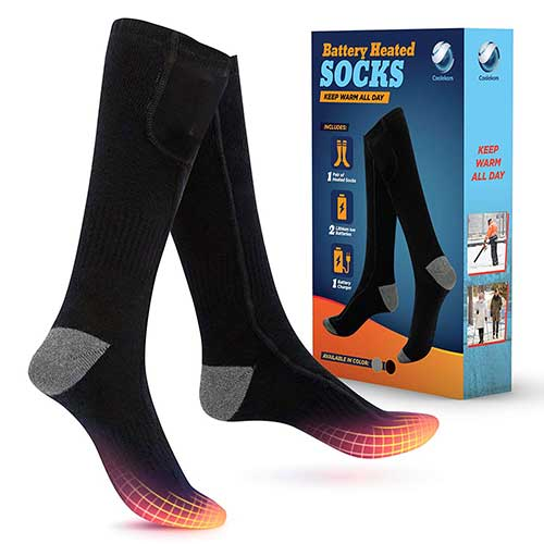 8. COOLEKOM Heated Socks - Keep Warm All Day -Rechargeable Battery Operated Heated Socks for Winter Work -Cold Weather Socks -Snow Socks