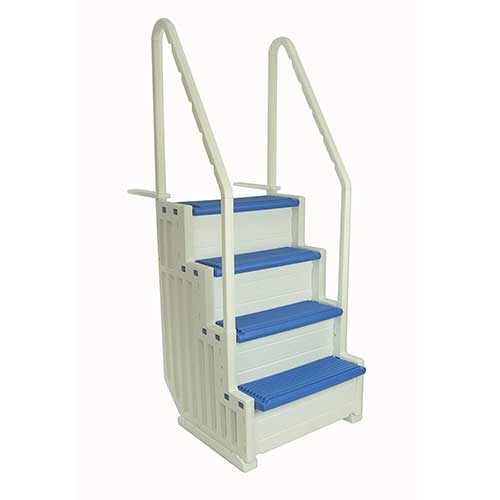 Best Above Ground Pool Steps 2. Confer Plastics above Ground Swimming Pool Ladder | Heavy Duty | White Frame with Blue Steps | Deck Height Up To 60 Inches | Makes Getting In & Out Of Pool A Lot Easier