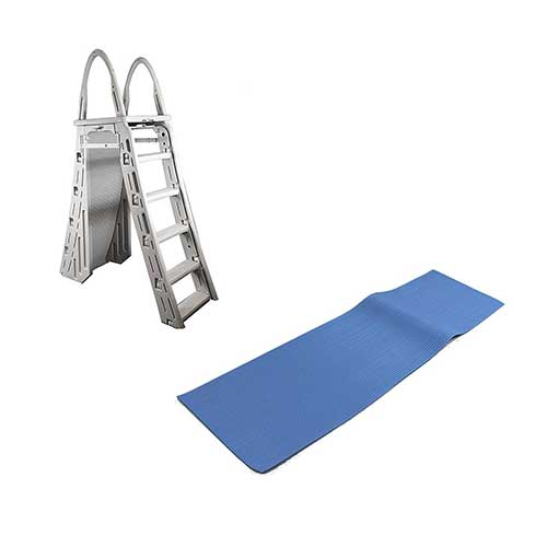 Best Above Ground Pool Steps 7. Confer Heavy-Duty A-Frame Above-Ground Pool Ladder + Hydro Tools Protective Mat