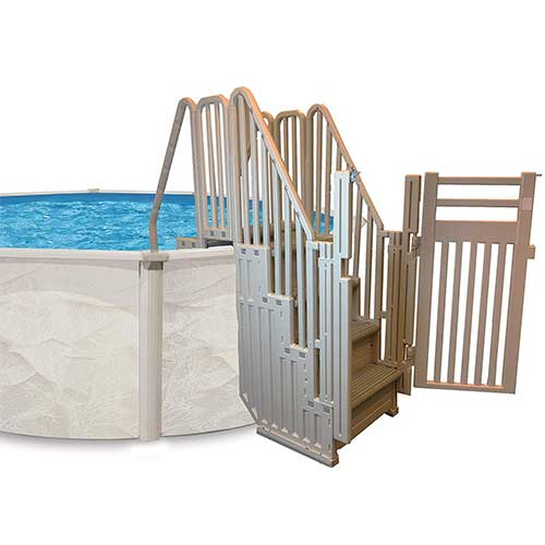 Best Above Ground Pool Steps 4. Confer Entry System for Above Ground Pools (Various Step Colors) (Blue)