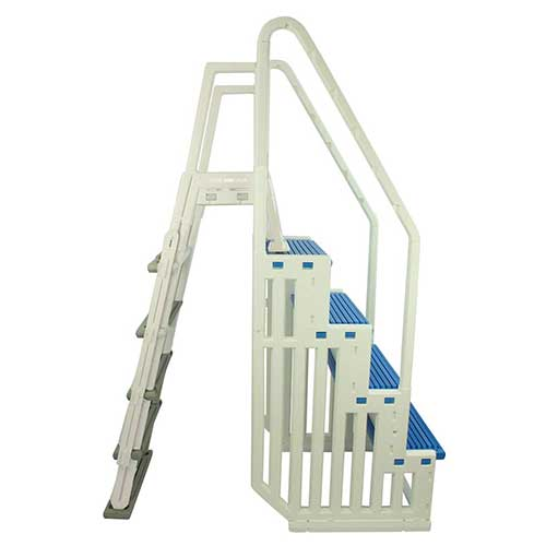 Best Above Ground Pool Steps 3. Confer Plastics above Ground Swimming InPool Step & Ladder | Heavy Duty | White Frame with Blue & Gray Steps | Deck Height Up to 60 Inches | Enter & Exit Your Pool Safely