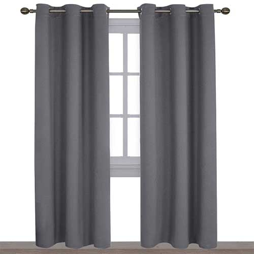 1. NICETOWN 3 Pass Microfiber Noise Reducing Thermal Insulated Solid Ring Top Blackout Window Curtains/Drapes
