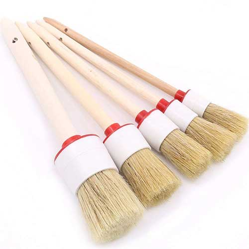 Best Wheel Brush Detailing World 5. Swpeet 5 Pcs Premium Natural Boar Hair Detail Brush Set, Automotive Detailing Brushes
