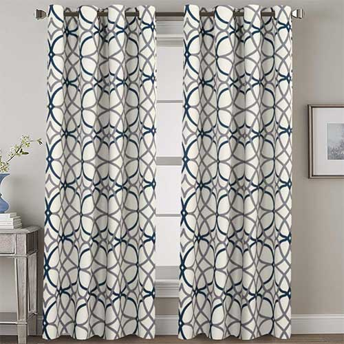 7. H.VERSAILTEX Navy Blackout Curtains 84 Inches Long for Bedroom- All Season Thermal Insulated