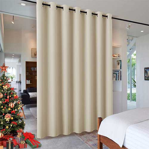 5. RYB HOME Wall Divider Curtain for Living Room, Noise Reduction Privacy Curtain with Anti-Rust Grommet Top Blackout Curtain
