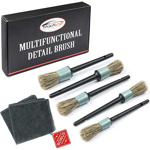 Best Wheel Brush Detailing World 8. Master Detailing Brush Set - 5 Different Sizes - Free Microfiber Towel - Premium Natural Boar Hair