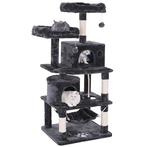 6. BEWISHOME Cat Tree Condo Furniture Kitten Activity Tower Pet Kitty Play House with Scratching Posts Perches Hammock MMJ01