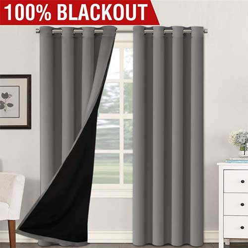 6. H.VERSAILTEX Thermal Insulated 100% Blackout Extra Long 108 Inches Curtains Noise Reducing Performance Grommet Drapes