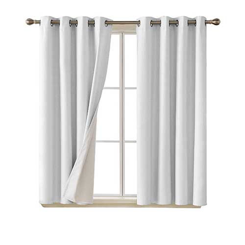 4. Deconovo Faux Linen Blackout Curtains with 3 Pass Coating Noise Reduction Curtain Thermal Insulated Room Darkening Curtains