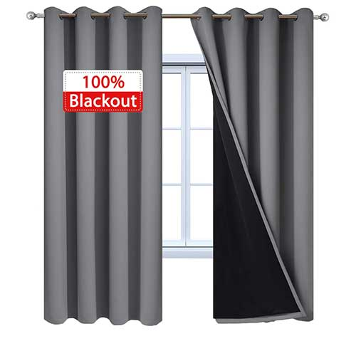 8. Yakamok 100% Blackout Curtains 84 Inches Long, 2 Thick Layers Thermal Insulated Gray Curtain Panels, Full Light Blocking Drapes