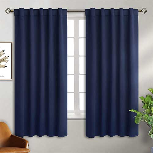 10. BGment Rod Pocket and Back Tab Navy Blackout Curtains for Bedroom - Thermal Insulated Room Darkening Curtains