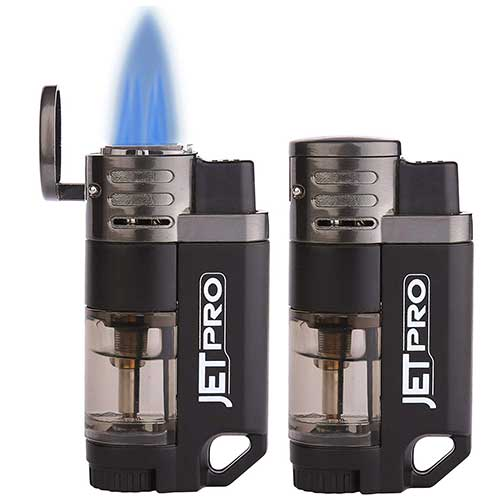 Best Butane Torch Lighters 5. JETPRO Butane Torch Lighter 4 Jet Flames Cigar Lighter Refillable Gas Fuel Butane Lighter Red Flame (2PACKS)