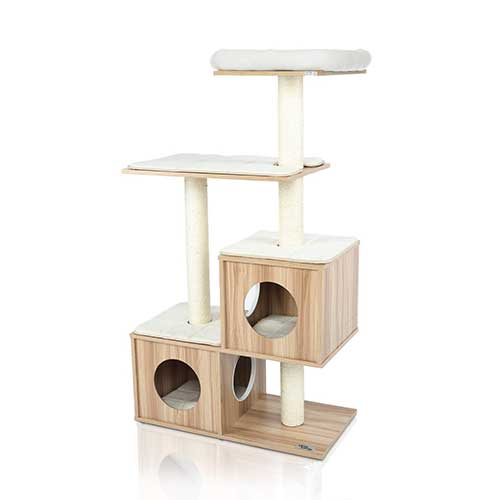 9. LAZY BUDDY Cat Tree, Wooden Modern Cat Tower, 5 Levels for Cat's Activity, Cat Furniture with Removable and Washable Mats