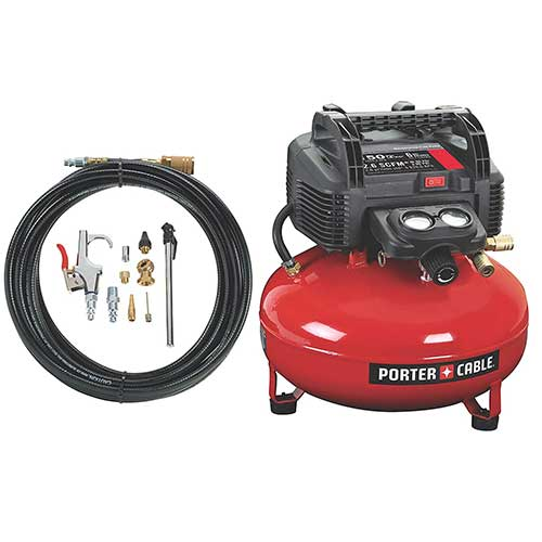 Best Oil Free Compressors 2. PORTER-CABLE C2002-WK Oil-Free UMC Pancake Compressor with 13-Piece Accessory Kit