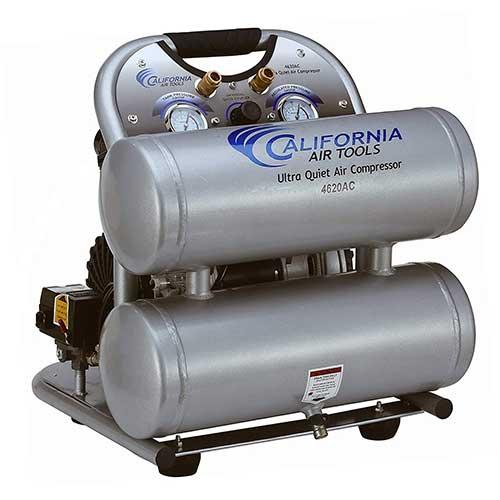 Best Oil Free Compressors 4. California Air Tools CAT-4620AC Ultra Quiet & Oil-Free 2.0 hp 4.0 gallon Aluminum Twin Tank Electric Portable Air Compressor