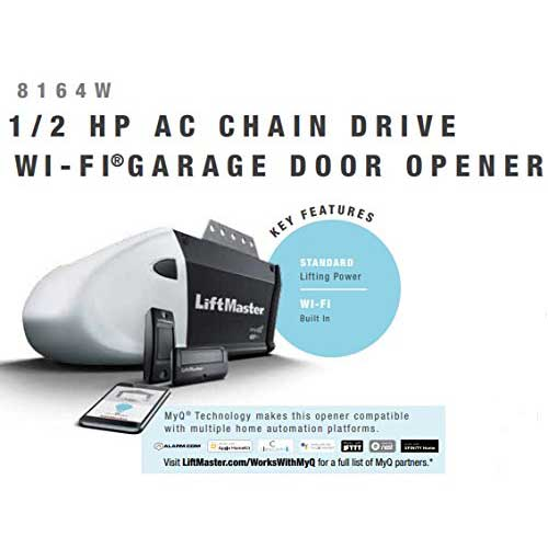 7. LiftMaster 1355 ( Replaced by 8164W ) Contractor Series 1/2 HP AC Chain Drive Wi-Fi® Garage Door Opener without Rail